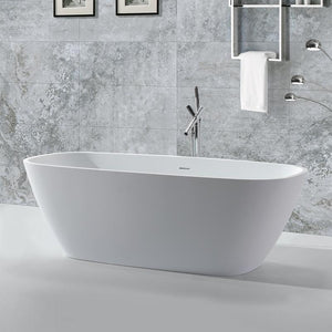 DAX-BT-AB-B037 / DAX OVAL FREESTANDING MATTE SOLID SURFACE BATHTUB WITH CENTRAL DRAIN AND OVERFLOW, FIBERGLASS REINFORCEMENT, FULL IMMERSION, STAINLESS STEEL FRAME, 67-3/4 X 21-5/8 X 28-3/4 INCHES