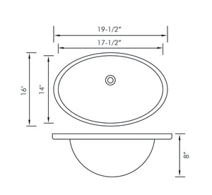 DAX-BSN-200 / DAX CERAMIC OVAL SINGLE BOWL UNDERMOUNT BATHROOM SINK, WHITE FINISH, 19-1/2 X 16 X 8 INCHES