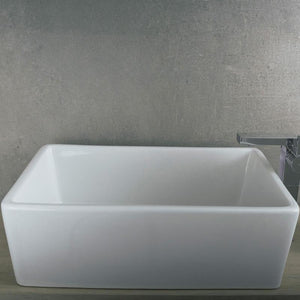 DAX-BSN-285K / DAX CERAMIC RECTANGLE SINGLE BOWL BATHROOM VESSEL SINK, WHITE FINISH, 24-9/16 X 16-1/8 X 6-1/2 INCHES