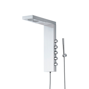 DAX-074 / DAX STAINLESS STEEL SHOWER PANEL RAINFALL SHOWER HEAD WITH INDIVIDUAL VOLUME CONTROL AND HAND SHOWER, BRUSHED FINISH, 7-1/6 X 26 INCHES