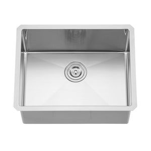 DAX-2318R10 / DAX HANDMADE SINGLE BOWL UNDERMOUNT KITCHEN SINK, 18 GAUGE STAINLESS STEEL, BRUSHED FINISH