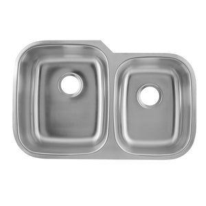 DAX-3120L / DAX 60/40 DOUBLE BOWL UNDERMOUNT KITCHEN SINK, 18 GAUGE STAINLESS STEEL, BRUSHED FINISH