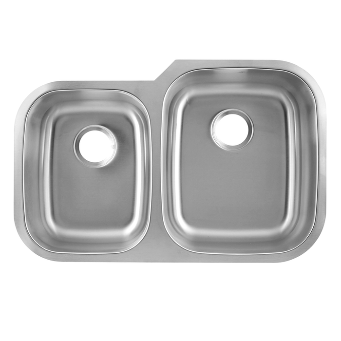 DAX-3120R / DAX 40/60 DOUBLE BOWL UNDERMOUNT KITCHEN SINK, 18 GAUGE STAINLESS STEEL, BRUSHED FINISH