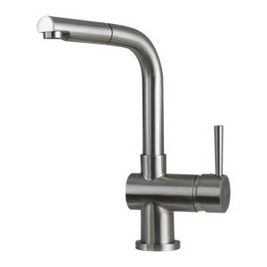 DAX-413 / DAX SINGLE HANDLE PULL OUT KITCHEN FAUCET, BRASS BODY AND SHOWER HEAD, BRUSHED NICKEL FINISH