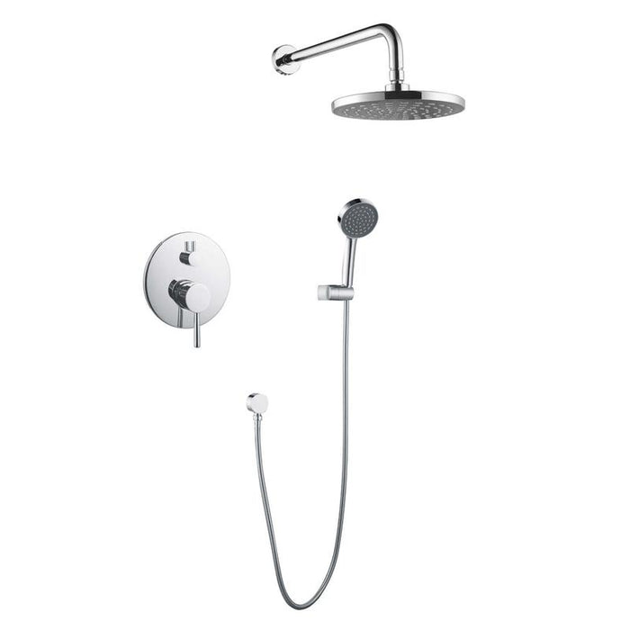 DAX-6813 / DAX BATHROOM RAIN MIXER SHOWER, ROUND RAINFALL SHOWER HEAD SYSTEM WITH SHOWER TRIM AND HAND SHOWER, WALL MOUNT, BRUSHED NICKEL OR CHROME FINISH