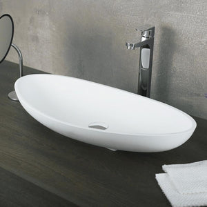 DAX-AB-1302 / DAX SOLID SURFACE OVAL SINGLE BOWL BATHROOM VESSEL SINK, WHITE MATTE FINISH, 27-3/8 X 13-1/5 X 4-3/4 INCHES