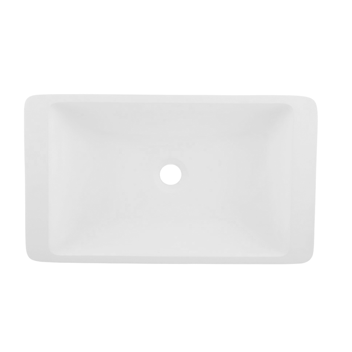 DAX-AB-1321 / DAX SOLID SURFACE RECTANGLE SINGLE BOWL BATHROOM VESSEL SINK, WHITE MATTE FINISH, 22-7/8 X 13-3/8 X 4 INCHES