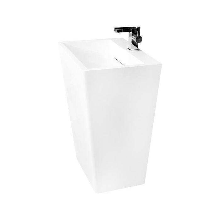 DAX-AB-1384 / DAX SOLID SURFACE RECTANGLE PEDESTAL FREESTANDING BATHROOM SINK, WHITE MATTE FINISH, 21-1/4 X 17-1/8 X 32-7/8 INCHES