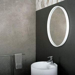 DAX-AB-1571 / DAX SOLID SURFACE ROUND BATHROOM VANITY MIRROR, WALL MOUNT WITH FRAME, WHITE FINISH, 27-1/2 INCHES