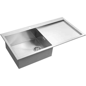 DAX-AT100SP / DAX HANDMADE SINGLE BOWL TOP MOUNT KITCHEN SINK WITH DRAINING BOARD, 18 GAUGE STAINLESS STEEL, BRUSHED FINISH