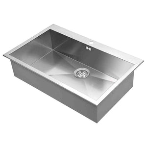 DAX-AT82S / DAX HANDMADE SINGLE BOWL TOP MOUNT KITCHEN SINK, 18 GAUGE STAINLESS STEEL, BRUSHED FINISH