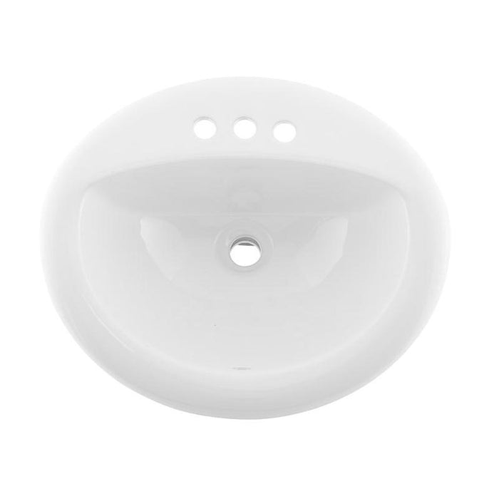 DAX-BSN-209-W / DAX CERAMIC SINGLE BOWL TOP MOUNT BATHROOM SINK, WHITE FINISH, 19-11/16 X 17-11/16 X 8-1/4 INCHES