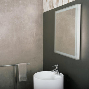 DAX-DL35 / DAX SQUARE LED LIGHT BATHROOM VANITY MIRROR WITH TOUCH SWITCH, WALL MOUNT, SUPER WHITE GLASS, 27-9/16 X 27-9/16 X 2 INCHES