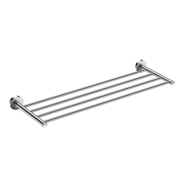 DAX-GDC120168 / DAX VALENCIA TOWEL RACK WITH SHELF, WALL MOUNT, BRASS BODY, BRUSHED NICKEL OR CHROME FINISH, 23-5/8 X 7-7/8 X 2 INCHES