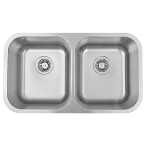 DAX-KA-3118 / DAX 50/50 DOUBLE BOWL UNDERMOUNT KITCHEN SINK, 18 GAUGE STAINLESS STEEL, BRUSHED FINISH
