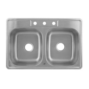 DAX-KA-OM3322 / DAX 50/50 DOUBLE BOWL TOP MOUNT KITCHEN SINK, 20 GAUGE STAINLESS STEEL, BRUSHED FINISH