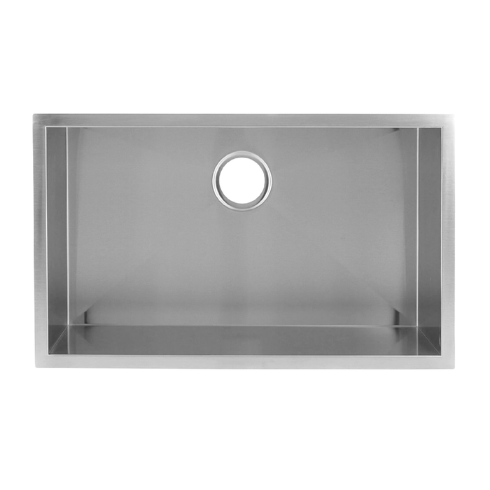 DAX-KA-SQ-3018 / DAX HANDMADE SINGLE BOWL UNDERMOUNT KITCHEN SINK, 18 GAUGE STAINLESS STEEL, BRUSHED FINISH