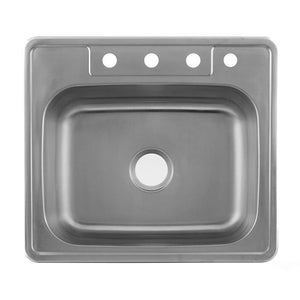 DAX-OM-2522 / DAX SINGLE BOWL TOP MOUNT KITCHEN SINK, 20 GAUGE STAINLESS STEEL, BRUSHED FINISH