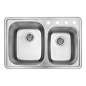 DAX-OM-911 / DAX DOUBLE BOWL TOP MOUNT KITCHEN SINK, 20 GAUGE STAINLESS STEEL, BRUSHED FINISH