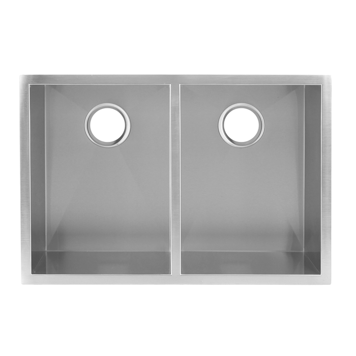 DAX-SQ-2920A / DAX HANDMADE 50/50 SQUARE DOUBLE BOWL UNDERMOUNT KITCHEN SINK, 16 GAUGE STAINLESS STEEL, BRUSHED FINISH