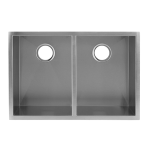 DAX-KA-SQ-2920A / DAX HANDMADE 50/50 SQUARE DOUBLE BOWL UNDERMOUNT KITCHEN SINK, 18 GAUGE STAINLESS STEEL, BRUSHED FINISH