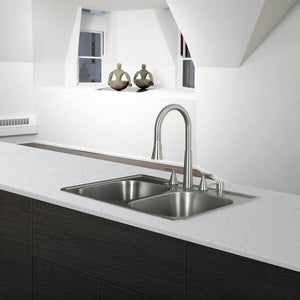 DAX-OM-3322 / DAX 50/50 DOUBLE BOWL TOP MOUNT KITCHEN SINK, 20 GAUGE STAINLESS STEEL, BRUSHED FINISH