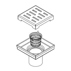 DAX-ZS3S01 / DAX SQUARE SHOWER FLOOR DRAIN, STAINLESS STEEL BODY, BRUSHED STAINLESS STEEL OR CHROME FINISH, 4 X 4 INCHES