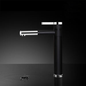 New High Quality Black Tall Copper Brass Bathroom Basin Faucet Black Plate Single Handle Sink Mixer Tap Hot Cold Water