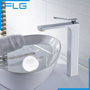 Free Shipping Bathroom Faucet Grilled white paint Chrome Finish Brass Basin Sink Faucet Mixer Tap Single Handle