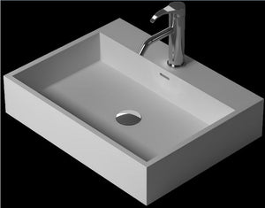 Bathroom Rectangular Above counter Vessel sink Cloakroom Solid Surface Stone Vanity Wash Basin  XRS38343