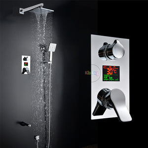 Bathroom LED Shower Set.3 Functions LED Digital Display Shower Mixer.Concealed Shower Faucet.8 Inch Rainfall Shower Head.
