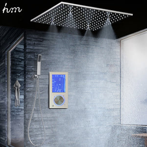 "Bathroom Shower Head with 3 Ways Intelligent Digital Concealed Faucet 20"" SPA Mist Rainfall Thermostatic Set Touch Panel Mixer"