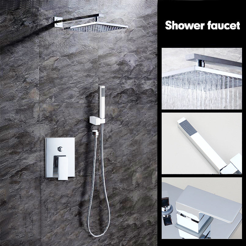 Bathtub Rainfall Shower head Polished Wall Mounted 360 Degree Swivel Panel Mixer Taps Shower Faucets Set Chrome Finish