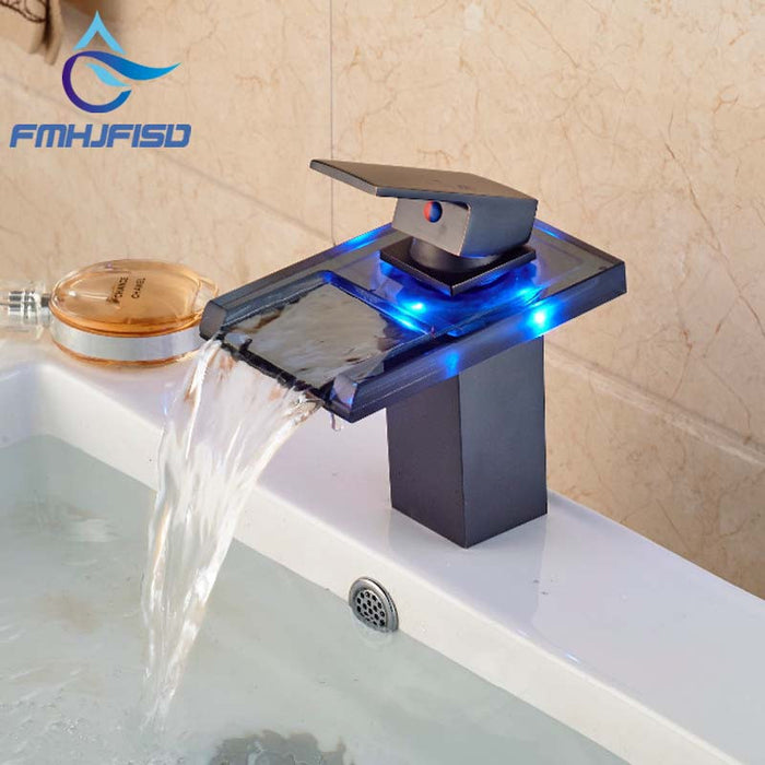 Free Shipping Wholesale And Retail 3 LED Color Changing Waterfall Bathroom Faucet Vanity Sink Mixer Tap Oil Rubbed Bronze