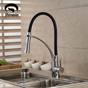 Black and Chrome Finish Kitchen Sink Faucet Deck Mount Pull Out Dual Sprayer Nozzle Hot Cold Mixer Water Taps