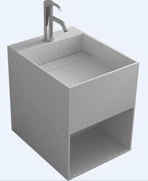 Bathroom Corain Rectangular Wall Hung Vessel Sink Matt Solid Surface Stone Washbasin Pre-drilled Hole RS38232