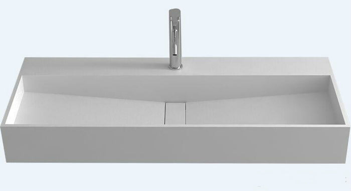 Corain Rectangular Wall Hung Vessel Sink Matt Solid Surface Stone Pre-drilled Hole Washbasin RS38230