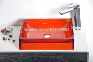 All NEW Colored Resin Acrylic HAND WASH BASIN Cloakroom Vanity Sink COUNTER TOP Rectangular Vessel Sink 2015