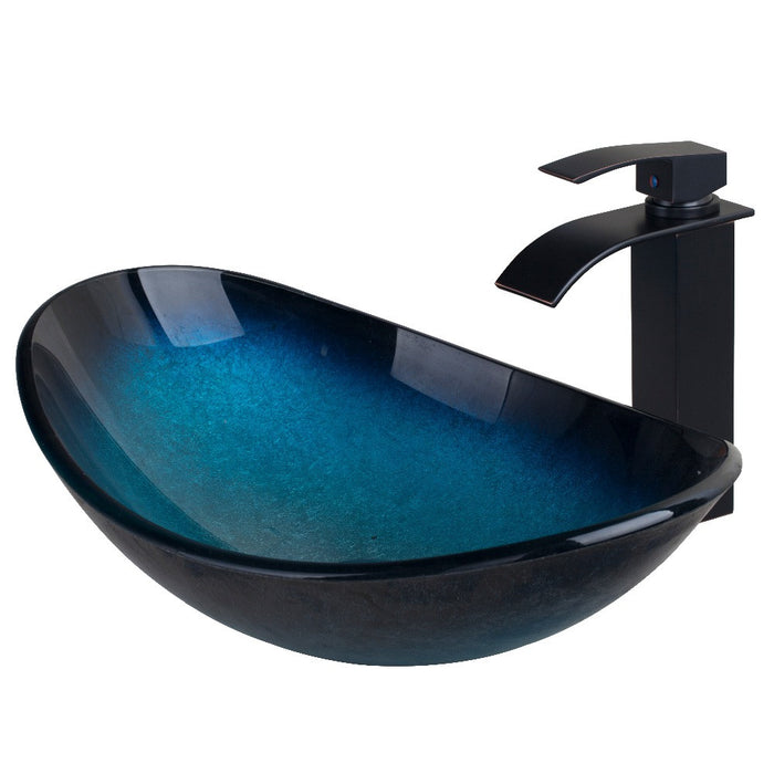 Modern Waterfall Tempered Glass Bathroom Vessel Basin Sink With Faucet Bowl Faucet  Mixer Set