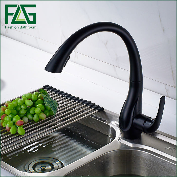 Free Shipping New Design Pull Out Faucet Black Swivel Kitchen Sink Mixer Tap Kitchen Faucet Vanity Faucet cozinha FLG20015B