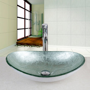 US Modern Bathroom Artistic tempered Glass Vessel Vanity hand print color Sink bowl  Basin Sink Faucet Hand Painted