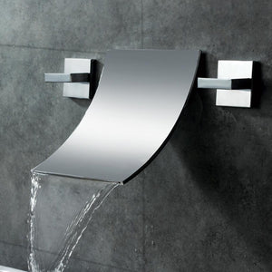 Free ship Modern Waterfall Wall Mount Bathroom Vessel Sink Faucet in Chrome