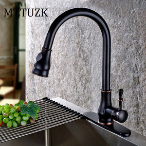 MTTUZK Oil Rubbed Bronze Pull Out Spray Head Kitchen Faucet Mixer Tap Swivel Spout Cold Hot Black Sink faucet Deck Plate Cover