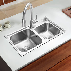 680*390*220mm 304 Stainless steel brushed seamless undermount kitchen sink set three bowl Drawing drainer Handmade welding sink