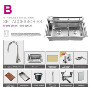 HIDEEP Kitchen Sink Vessel Set With Faucet Double Sinks Kitchen Sink Under Mount Kitchen Washing Vanity SUS304 Stainless Steel
