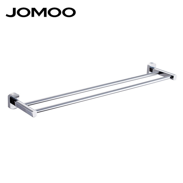 JOMOO Brass Chrome Bathroom Lavatory Double Towel Bar Wall Mounted Towel Holder Bathroom Accessories Modern Dual Towel Rack
