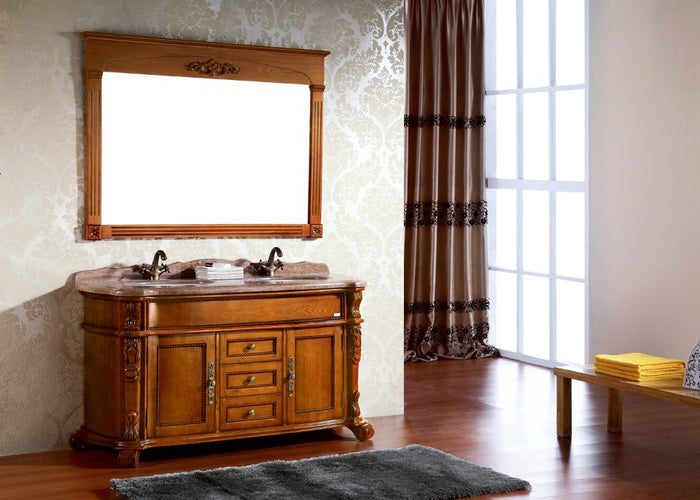 Solid rubber wood bathroom vanity for house