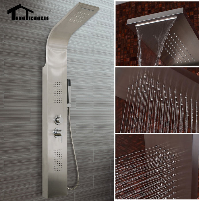Stainless Steel Shower Panel Curved  Rainfall Shower Set Massage System Faucet with Jets with Hand Shower Tower Shower Column