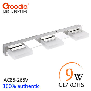 9W 3-Light LED Mirror Wall Light Bathroom Wall lamp Make Up Light Flexible Lamp Head LED Sconce AC85-265V Acrylic