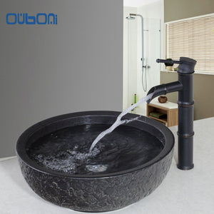 OUBONI Ceramic Washbasin Vessel Lavatory Basin Bathroom Sink Bath Combine Brass Vessel Vanity Tap Mixer Faucet & Pop-up Drain